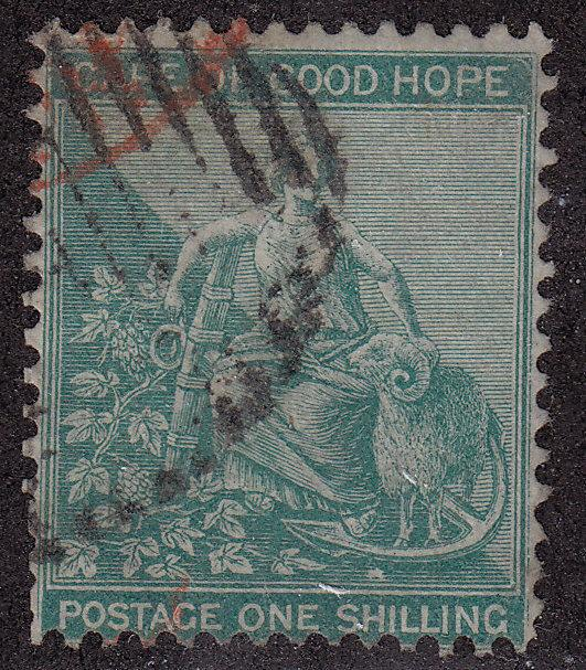 CAPE OF GOOD HOPE Used Scott # 19 Queen Victoria Red Cancel Wmk 1 pencil #(1 S)2