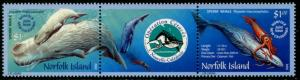 NORFOLK IS. Sc#783  2002 Whales Strip of 3 Complete Set OG Mint NH