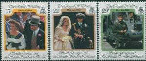 South Georgia 1986 SG158-160 Royal Wedding set MNH