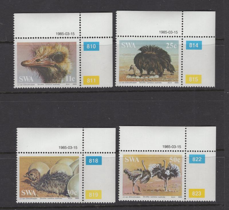 South West Africa 1985 Stamps Birds 4 Stamp Set with Plate Nos  Scott 536-9 MNH