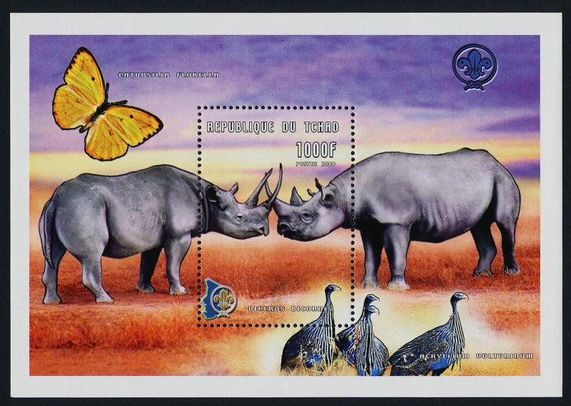 Chad 882 MNH Rhinocerous, Bird, Butterfly, Scouts