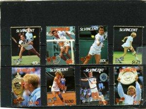 ST.VINCENT 1987 SPORTS/TENNIS SET OF 8 STAMPS MNH