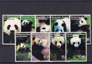 Comoro Islands 2000 PANDAS WILDLIFE Set (9) Perforated MNH VF