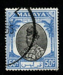 MALAYA PERLIS SG24 1951 50c BLACK & BLUE FINE USED