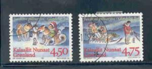 Greenland Sc 327-8 1997 Christmas stamp set used