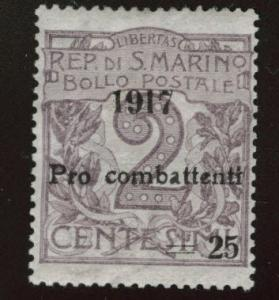 San Marino Scott B1 MH* 1917 surcharged Semi-postal  CV$15