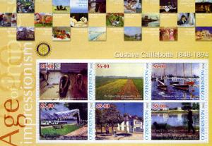 UZBEKISTAN 2002 Gustave Caillebotte Painting Sheet Perforated mnh.vf