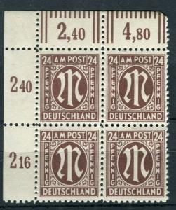 GERMANY; ALLIED MILITARY POST 1945-46 finer Mint Marginal 24f. Block