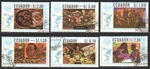 Ecuador. 1967. 1313-18. Mexico City, summer olympics, painting. USED.