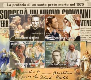 Chad 2011 Pope John-Paul II/Father Dolindo Ruotolo Sheetlet Perforated (4) MNH