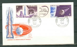 COMORO ISL. SATELLITTE  #C16a STRIP + LABEL...FDC