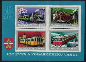 Hungary Centenary of the Budapest Rack Railway MS SG#MS2894 MI#Block 107A CV