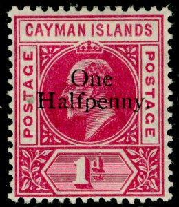 CAYMAN ISLANDS SG17, ½d on 1d carmine, LH MINT. Cat £60.