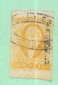 Mexico #2  1r yellow Imperf  (U) CV $5.00
