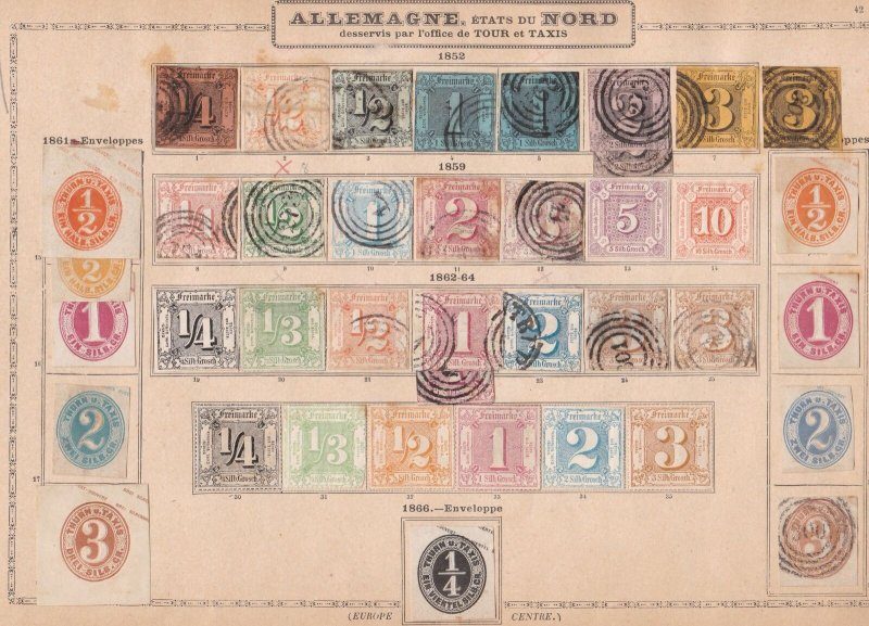 thurn & taxis northern district stamps on 1 page 1852 - 1864 ££££  ref r10781