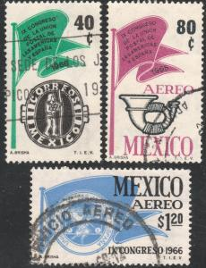 MEXICO 970,C314-C315 Cong Post Union Americas & Spain USED (179)