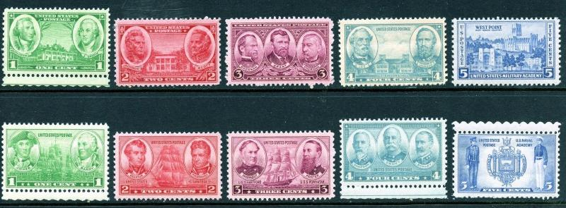 U.S. Scott 785-794 MNH Aemy and Navy Sets