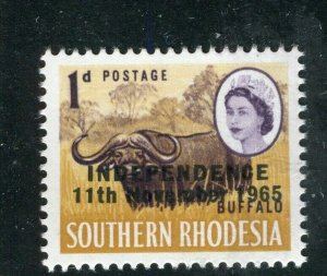 RHODESIA; 1965 Independence Optd. QEII Pictorial issue MINT MNH 1d. value