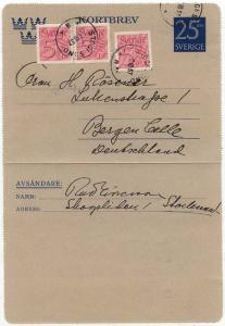 Sweden to Germany 1957 Stationary Card 3 x 5 Ore stamps added. VF