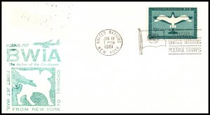 UN New York to Trinidad BWIA 1961 First Jet Flight Cover