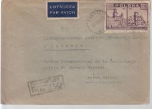 1946 Kartuzy Poland Cover to International Red Cross Switzerland