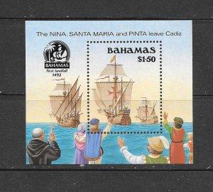 SHIPS - BAHAMAS #692  NINA. SANTA MARIA & PINTA   MNH