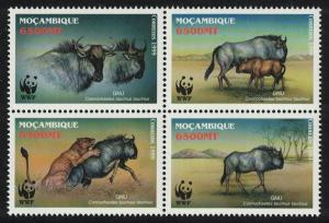 Mozambique WWF Blue Wildebeest 4v in block 2*2 SG#1542-1545 MI#1757-1760 SC#1377