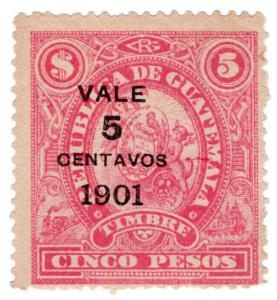 (I.B) Guatemala Revenue : Duty Stamp 5c on $5 OP