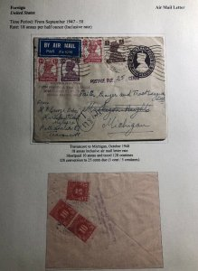 1948 Travancore India Airmail Postage Due Stationery Cover To Michigan USA