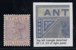 St. Lucia, SG 42a, MHR (slight crease) Top Left Triangle Detached variety