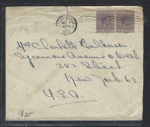 BAHAMAS COVER (PP2909BB) 1950  KGVI  2 1/2d PR COVER TO USA