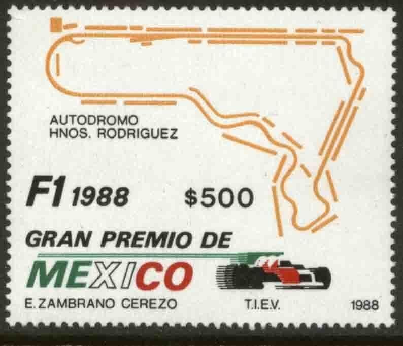 MEXICO 1548, Formula 1 Grand Prix, 1988. UNUSED, NG. VF.