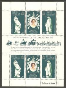BRITISH ANTARCTIC TERRITORY Sc# 71 MNH FVF Souv. Sht QEII Penguin