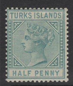 TURKS ISLANDS SG53 1882 ½d BLUE-GREEN MTD MINT