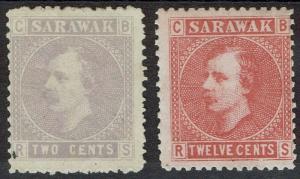 SARAWAK 1875 RAJA 2C AND 12C NO GUM