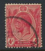 Straits Settlements George V  SG 198 Used  Rose scarlet