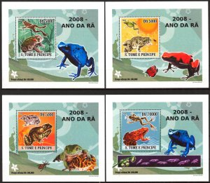 {033} Sao Tome & Principe 2008 Frogs 4 S/S Deluxe MNH**