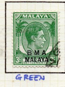 Malaya Straights Settlements 1945 Early Shade of Used 3c. BMA Optd 307982