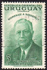 Uruguay 602 - Used - 3c Franklin D. Roosevelt (1953)