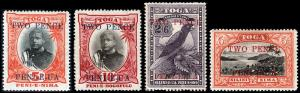 Tonga Scott 63, 65, 68-69 (1923) Mint H VF, CV $57.60 B