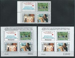 Macedonia RA54a and NOTE 1994 Red Cross block and s.s. MNH