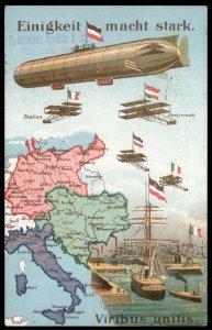 Germany 1917 WWI Zeppelin Patriotic Cover USED Feldpost Austria Italy 97793