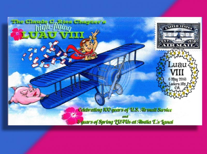 High-Flying Cachet for Luau Event Bears New Blue Issue for Air Mail Centennial