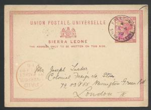 SIERRA LEONE 1899 QV 1d postcard used to UK, PAID LIVERPOOL BR PACKET .....56975