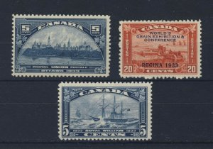 3x Canada Mint Stamps #202-5c #203 - 20c #204-5c Guide Value = $82.00