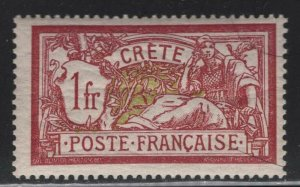 France Office in Crete 1902 1F Claret & Olive Green Merson Sc# 13 NH