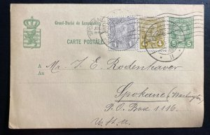 1905 Luxembourg Stationery Postcard Cover To Spokane WA USA