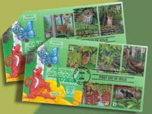 Weasels and Turkeys and Bears! Oh My! All 10 Deciduous Forest Critters on 2 FDCs
