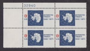 1431 Antarctic Treaty MNH Plate Block UL