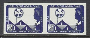 Philippines 637a MNH 1957 Girl Scouts imperf pair (ap7315)